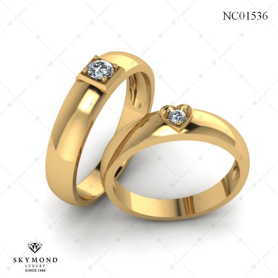 Nhẫn cưới vàng 18k gắn kim cương