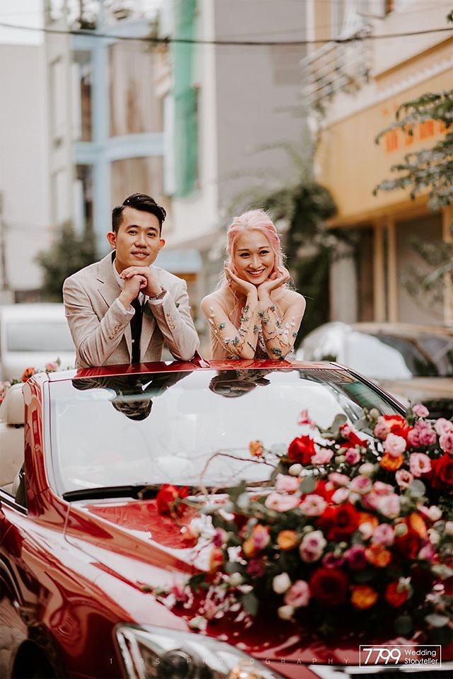Xe hoa đám cưới tông pure red